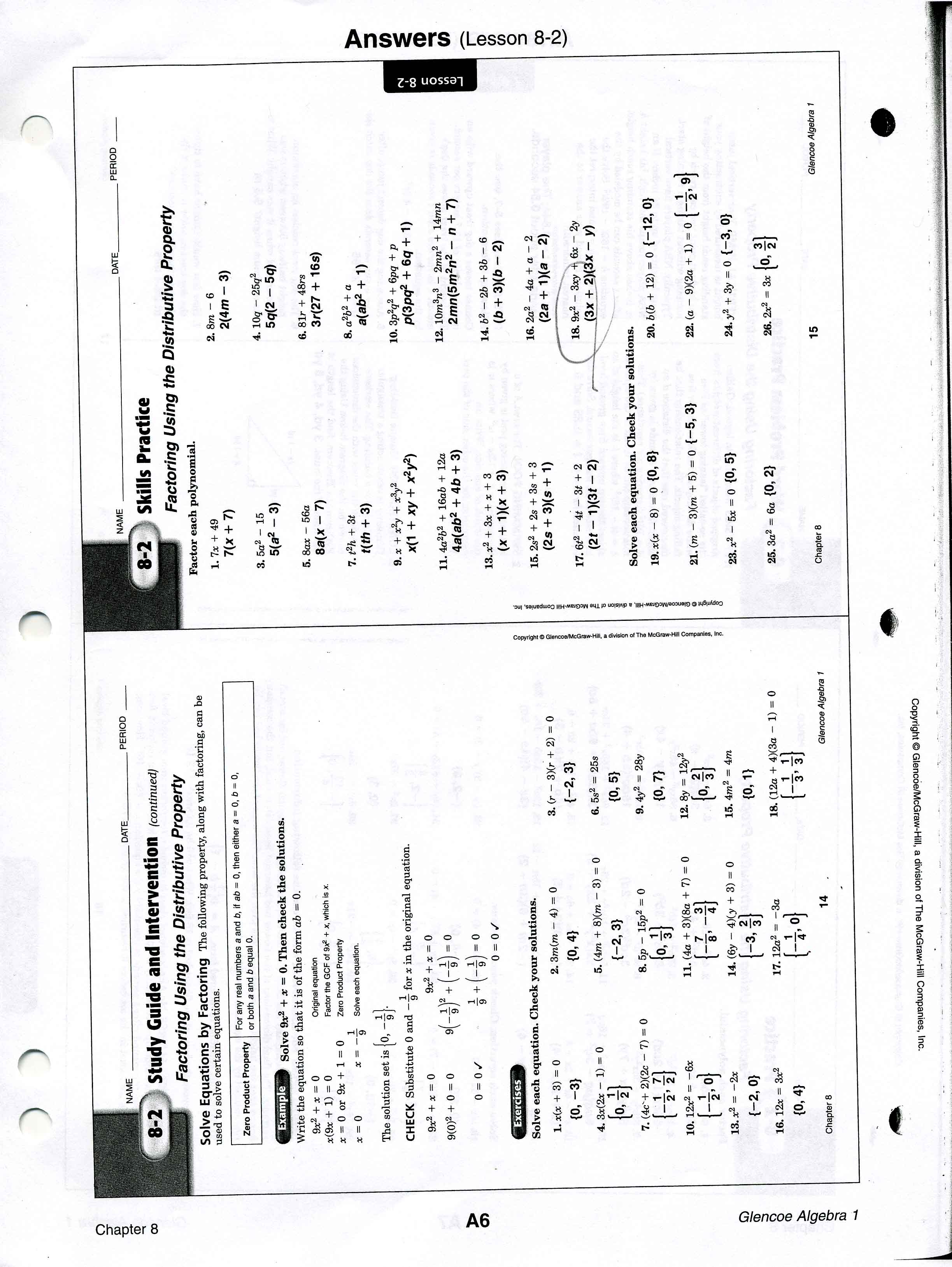 worksheet Algebra 1 Worksheet mrscabral algebra 1 worksheet answers worksheets 8 2