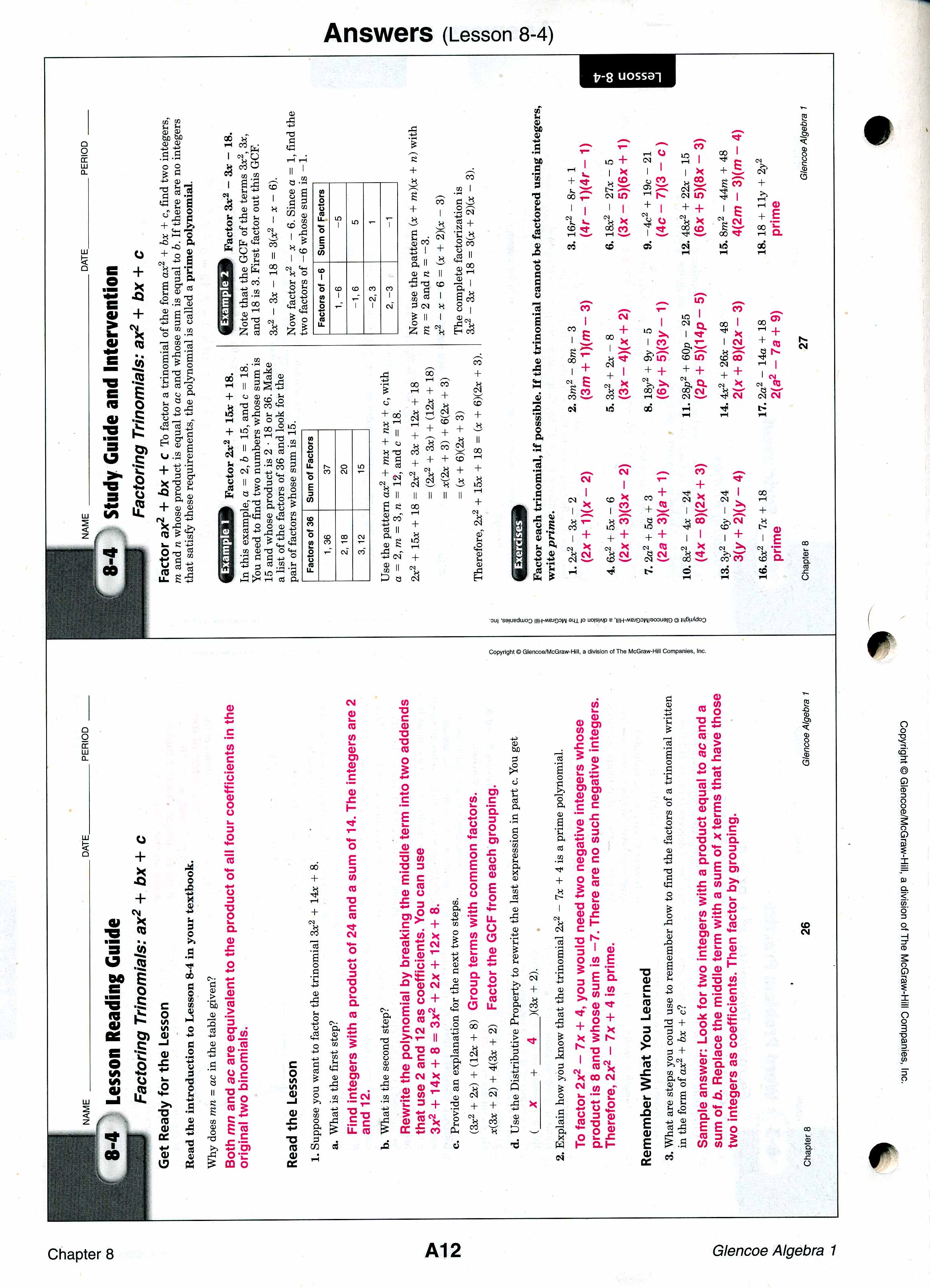 worksheet Algebra 1 Worksheets With Answers mrscabral algebra 1 worksheet answers 8 4 front