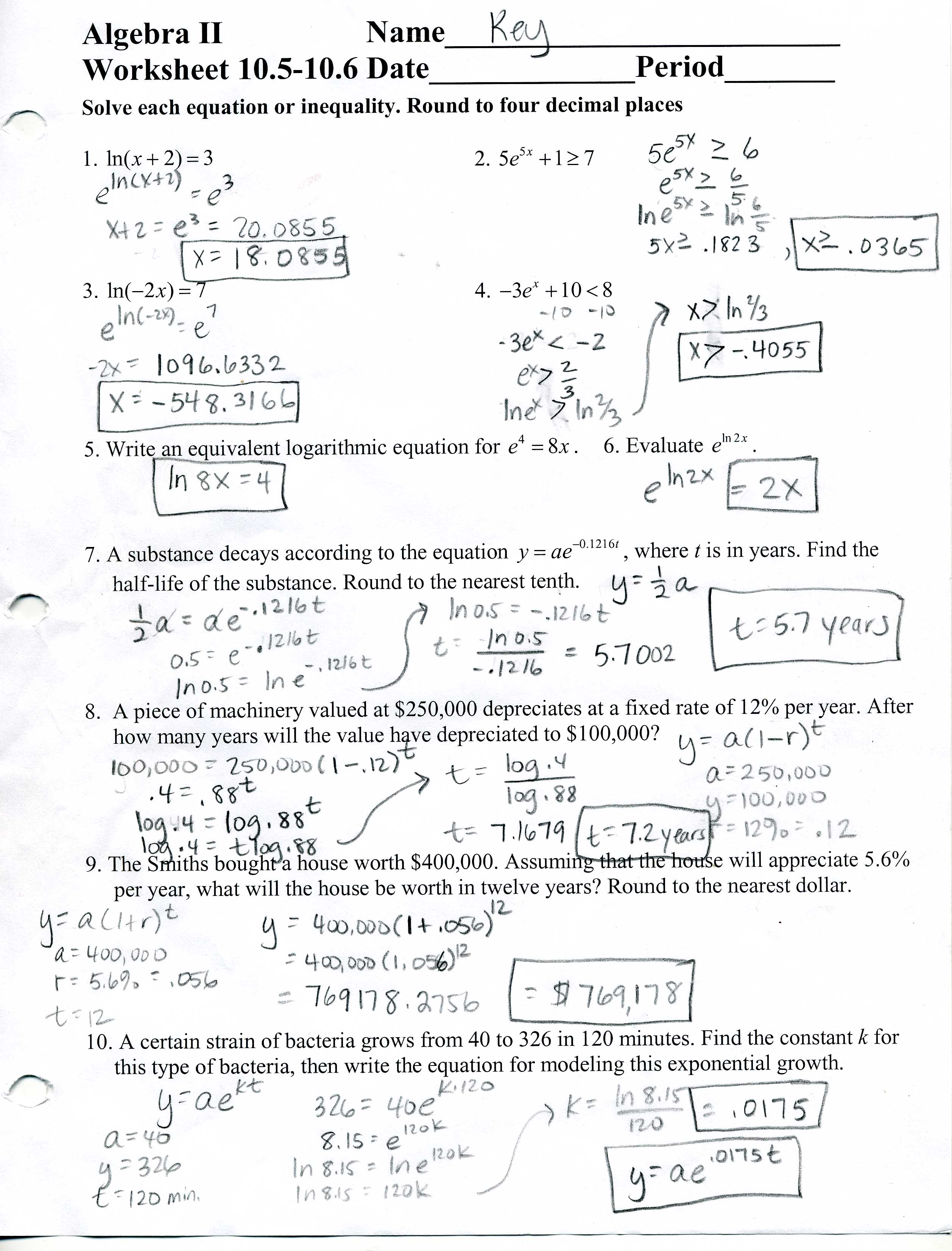 Pearson Algebra 2 Worksheet Answers - Worksheets for Kids ...