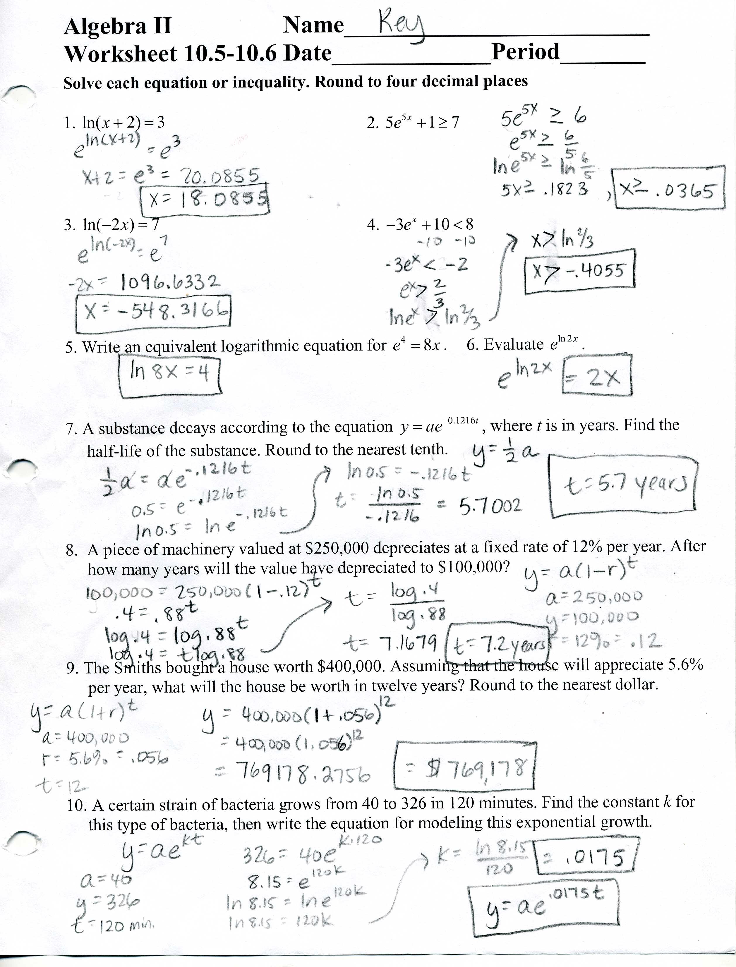 Mcdougal Littell Algebra 2 Worksheets – Glencoe Algebra 1 Worksheets Answer Key